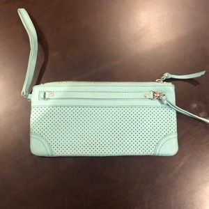 Banana Republic wristlet perforated mint leather